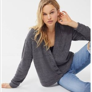 UO OUT FROM UNDER Gray Button Teddy Cardigan M